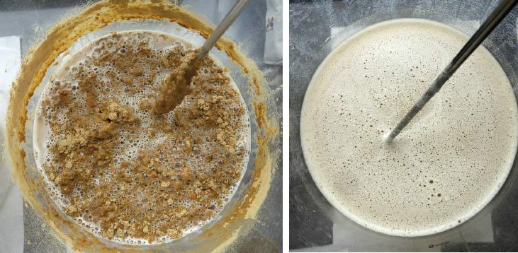 Foto 2 - Derivato di lievito tradizionale (a sinistra) e wynTube Prepara (a destra) dopo attesa di 5 minuti e agitazione (dispersione in H2O in proporzione 1:10).