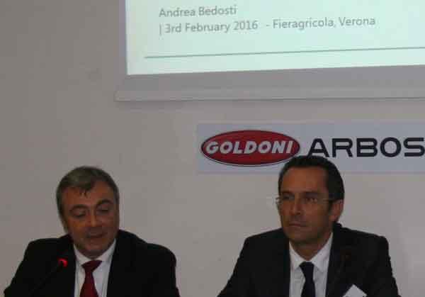 Fieragricola 2016, conferenza stampa Lovol Arbos Group: Andrea Bedosti, Consigliere Delegato di Lovol Arbos Group Spa (a sx), e Massimo Zubelli. Marketing & Sales Vice President Foton Lovol (a dx).